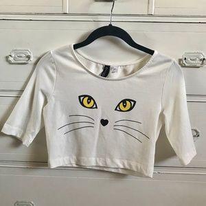 H&M / White Crop Cat Graphic Tee / SZ S